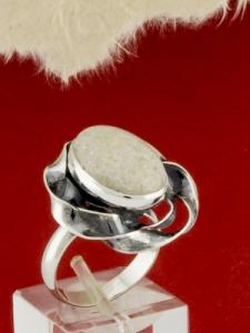 Сребърен пръстен - RKWS69 - Бял Авантюрин