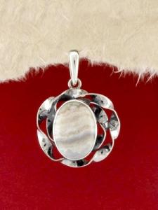 Сребърен медальон - PKWS69 - Ивичест Ахат