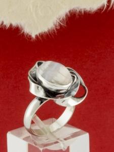 Сребърен пръстен - RKWS69 - Ивичест Ахат