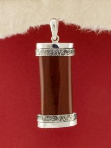 Сребърен медальон - PKWS74 - Червен Яспис