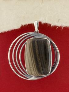 Сребърен медальон - PKWS82 - Ахатизирано дърво