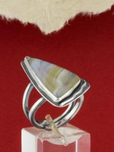 Сребърен пръстен - RKWS92 - Ивичест Ахат