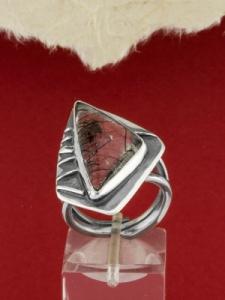 Сребърен пръстен - RKWS94 - Кварц Турмалин