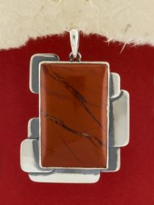 Сребърен медальон - PKWS95 - Червен Яспис