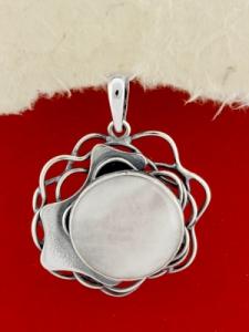 Сребърен медальон - PKWS97 - Млечен Кварц