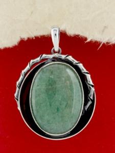 Сребърен медальон - PKWS98 - Авантюрин