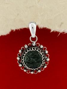Сребърен филигранен медальон - STP153 - Мъхов Ахат