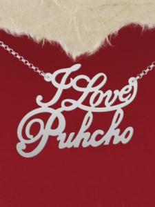 """Сребърно колие с име """"I love Puhcho"""""""