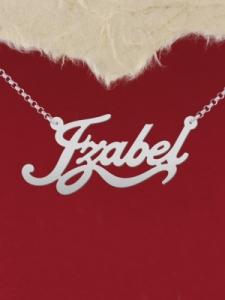 """Сребърно колие с име """"Izabel"""""""