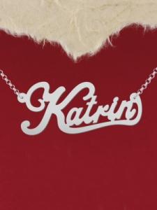 "Сребърно колие с име ""Katrin"""