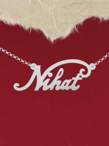 """Сребърно колие с име """"Nihat"""""""