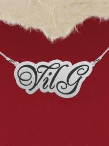 """Колие от сребро с име """"VilG"""""""
