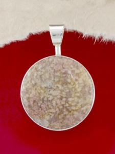 Сребърен медальон - PKWS3A - Розов Мъхов Ахат