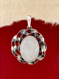 Сребърен медальон - PKWS69 - Млечен Кварц