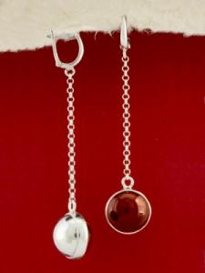 Сребърни обеци - EKWS8 - Червен Яспис