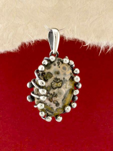 Сребърен медальон - PKWS73 - Леопардов Яспис