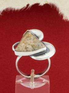 Сребърен пръстен - RKWS83 - Розов Мъхов Ахат