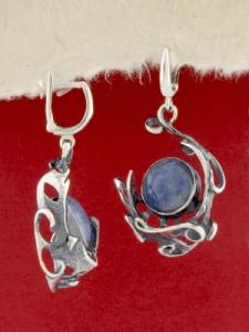 Сребърни обеци - EK162 - Син кварц