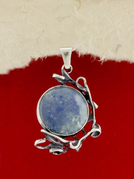 Сребърен медальон - PK162 - Син Кварц