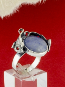 Сребърен пръстен - RK162 - Син Кварц