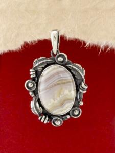 Сребърен медальон - PKWS70 - Ивичест Ахат