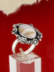 Сребърен пръстен - RKWS70 - Ивичест Ахат