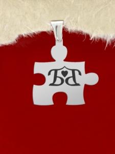 """Гравиран сребърен пъзел с надпис: """"Б love Б"""""""