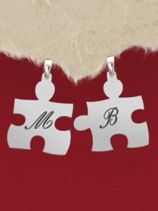 """Сребърни пъзели с гравиран надпис: """"М"""" и """"В"""""""