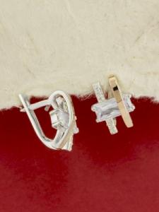 Сребърни обеци с позлата - EK0264.10