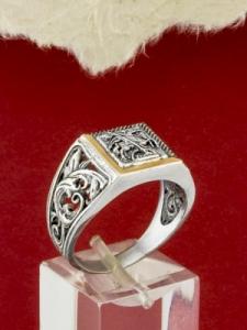 Сребърен пръстен със златно покритие - R0102.10