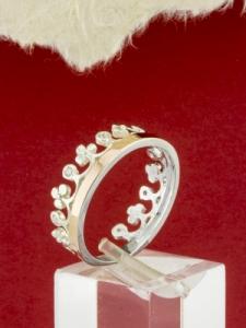 Сребърен дамски пръстен със златно покритие - R0208.15 -