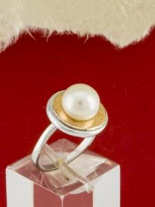 Сребърен пръстен с позлата и перла - RK0033.10