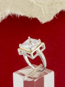 Сребърен пръстен с позлата - RK0064.10