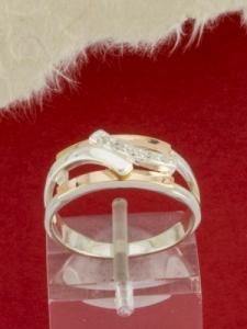 Сребърен пръстен с позлата - RK0069.10