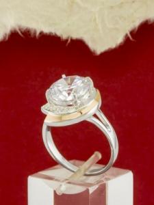 Сребърен пръстен със златно покритие - RK0095.10