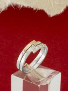 Сребърен пръстен със златно покритие - RK0118.10