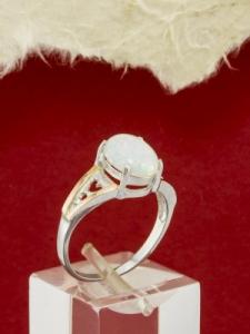 Сребърен пръстен с позлата и Опал - RK0134.01