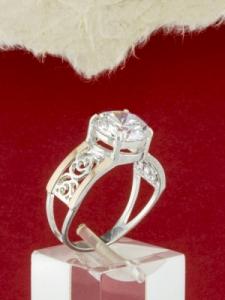 Сребърен пръстен с позлата - RK0159.10