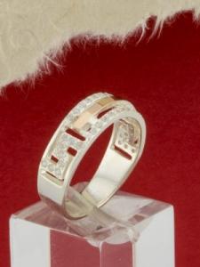 Сребърен пръстен с позлата - RK0162.10