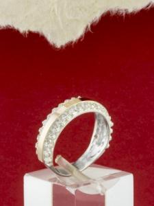 Сребърен пръстен с позлата - RK0190.09