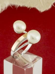 Сребърен пръстен с позлата - RK0220.10