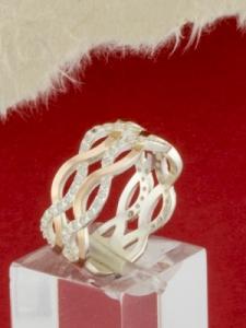 Сребърен пръстен със златно покритие - RK0238.10