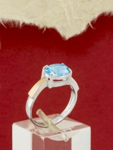 Сребърен пръстен със златно покритие - RK0252.02