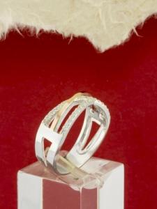 Сребърен пръстен с позлата - RK0278.10