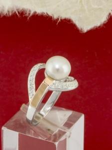 Сребърен пръстен с позлата - RK0283.10