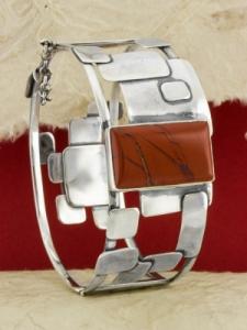 Сребърна гривна - BKWS95 - Червен яспис