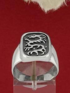 Сребърен пръстен с дракон - R164