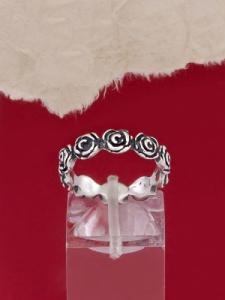 Сребърен пръстен с рози - R217