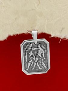 Сребърен медальон - Зодия Близнаци