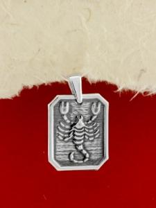 Сребърен медальон - Зодия Скорпион